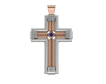 Exceptionally Unique  14k Two-Tone Gold cross with Blue Sapphire Item # C-01