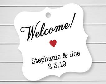 Welcome Wedding Printed Cardstock Wedding Tags, Wedding Favor Tags, Favor Tags, Party Favor Tags (FS-293)
