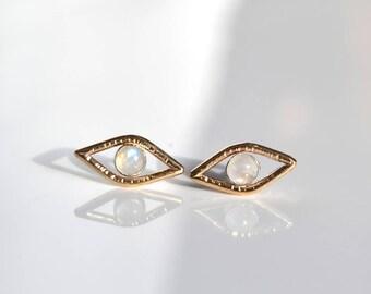 R E F L E C T I V E  Eye Moonstone Stud Earrings