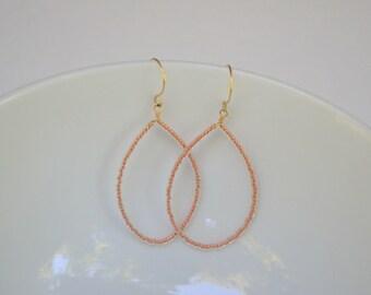 Copper Czech Glass Beaded Teardrop Earrings