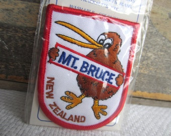 Vintage Mt Bruce New Zealand Iron On Patch Embroidered Emblem
