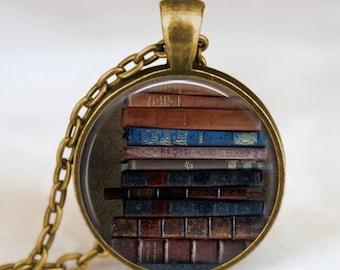 Book stack necklace , Books jewelry , Book pendant, teacher jewelry , librarian jewelry ,Bibliophile, book nerd gift, teacher  necklace,