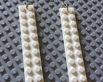 White Lego dangle earrings
