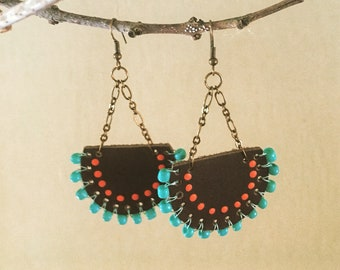 Hand painted leather earrings w/ orange and sea foam green.