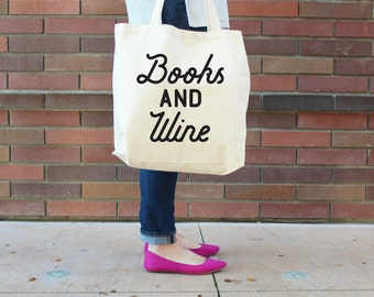 Books and Wine XL Canvas Tote Bag