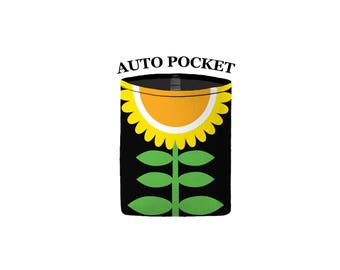 Auto Pocket - (Mod Bloom Yellow) - Sunflower - Car Accessory Automobile Caddy - orange black flower floral