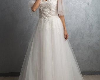 Wedding dress Snowflake,Tulle wedding gown