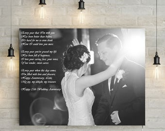 Custom 25th Wedding Anniversary/ Silver Anniversary Portrait With a Poem - Personalized Canvas Print or Printable