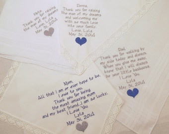 Father Mother of the Bride Mother Father of the Groom Handkerchiefs Gift Set 4 Personalized Wedding Hankerchiefs Embroidered Personalized