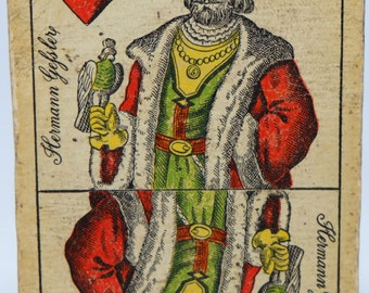 1800's Playing Card,  Hermann Gefster Heart, Hungarian, King of Hearts
