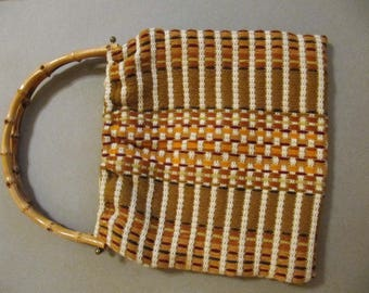 Vintage needle-pointed textile hand bag