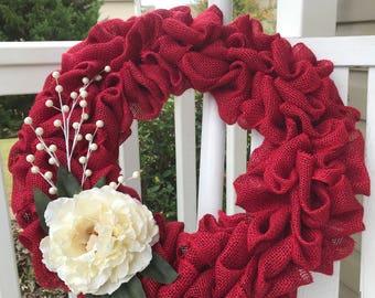 Christmas Wreath, Burlap Wreath, Rustic, Red Burlap, Christmas Door, Holiday Decor, Front Door Wreath, Burlap, Winter Wreath