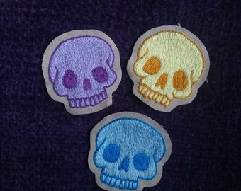 hand embroidered skull patch