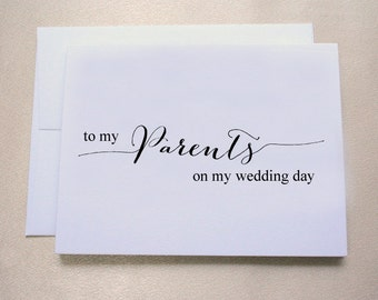 To my Parents on my Wedding Day Card / Wedding Day Card / Shimmer Cardstock