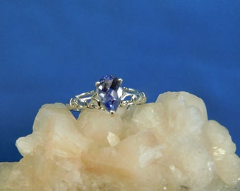 1.82 ct. Pear Tanzanite Sterling Silver Filigree Ring