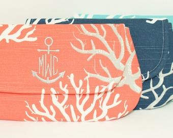 Anchor Monogram Wristlet/Clutch in Choice of Colors - Beach Wedding - Bridesmaid Clutch