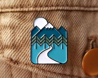 Outdoors Enamel Pin Lapel Pin Badge Mountain Adventure Forest Pin by OR8 DESIGN