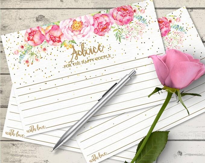 "Wedding Advice Cards, Marriage Advice, Advice Printable, Wedding Advice, 4""X6"" Cards   Editable Text INSTANT Download PDF Printable"