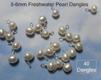 40 (Forty) 5mm - 6mm white freshwater pearl charms -closed loop wire wrapped dangles- silver, gold, antiqued brass, copper, gunmetal plated