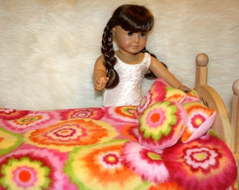 SALE - A G Doll Bedding - READY to Ship - Yellow Pink Orange Flower Power - Fleece - Fits 18 inch Doll Bed Reborn Doll Blanket Set