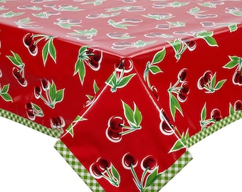 Rectangle Cherry Red Oilcloth Tablecloth with Lime Gingham Trim