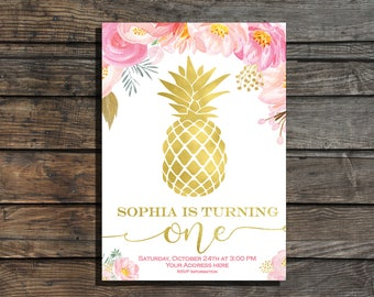Pineapple Birthday Invitation Tropical birthday invitation Aloha Birthday Invitation Hawaiian Invitation Floral Pink Girl birthday invite