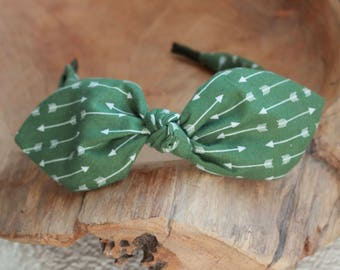 Headband Green Arrow Headband, Knotted Headband, Headscarf, Headwrap, Bow Headband, Scarf Headband, Headband for Women, teen headband