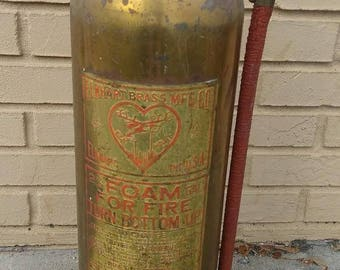 Vintage Elkhart Brass Fire Extinguisher Antique Foam Firefighting Firefighter