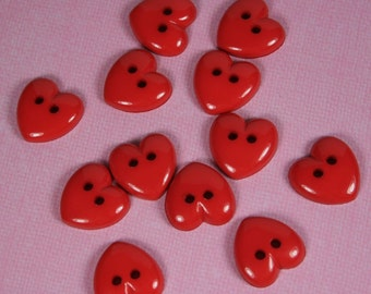 Bright Red Heart Buttons