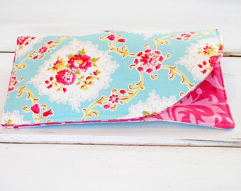 Sunglass Case, Glass Sleeve, Cases for Over sized glasses , Funky Sunglass case, Polka Dots, Sunglass sleeves Blue Floral Shabby,