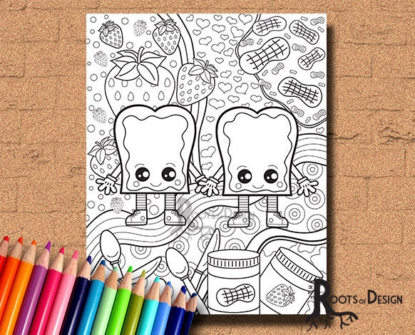 Instant Download Coloring Page Peanut Butter And Jelly Art