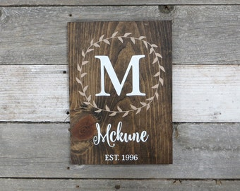 """Personalized Rustic Hand Painted Wood Sign, Family Name Sign, Monogram Sign, Established Date Sign, Last Name Sign - 13""""x9.25"""""""