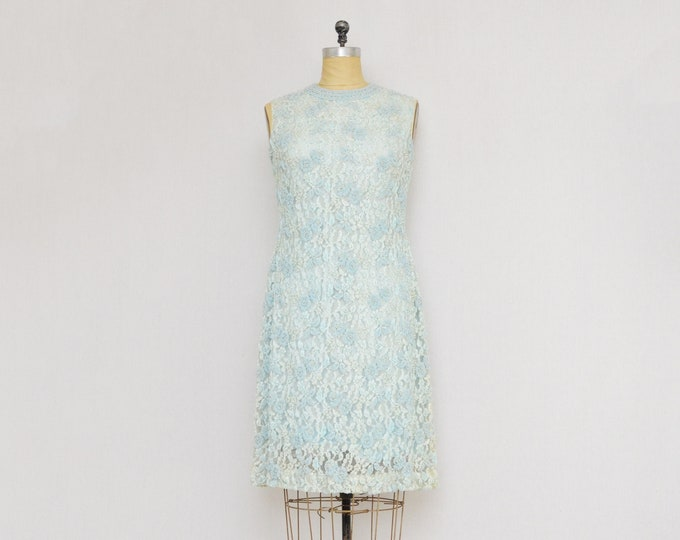 Vintage Pale Blue Beaded Lace Cockail Dress - Size Small