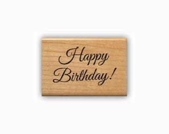 Happy Birthday Mounted rubber stamp, gift tag stamp, birthday card making, fancy script, Sweet Grass Stamps #23