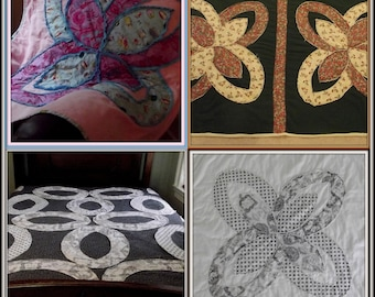4 pdf quilt patterns, quilt as you go pattern, autumn, wedding, flower quilts