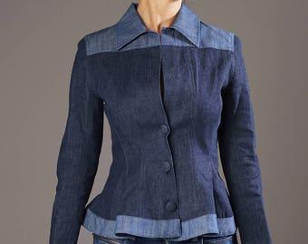 Denim Blazer, Feminine Denim Jacket