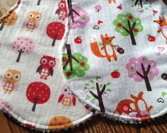 Flannel and Chenille Burp Cloths, Foxes and Owls, girl, ready to ship