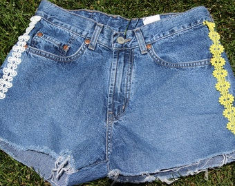 Vintage Lucky Brand Up Cycled Cutoff Jean Shorts with Trim Preppy Embellished Denim Cutoffs
