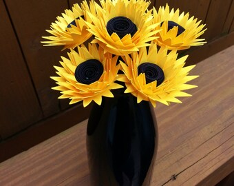 Paper Flower Bouquet - Yellow Paper Sunflowers (6) - Perfect for Weddings, Mother's Day, Anniversaries, Parties, Decor