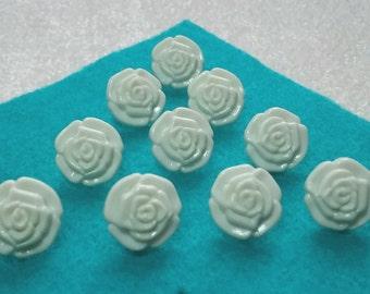 10 rose flower buttons cream, lilac,  peach