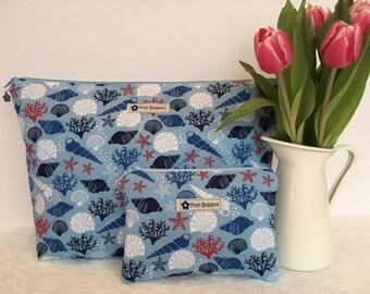 Blue Shells Seaside Washbag Makeup bag purse
