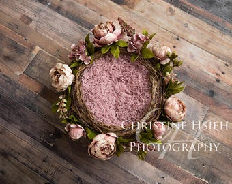 Newborn Digital Photography Backdrop Pink Flower Twig Basket Wreath