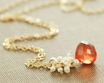 Orange Stone Necklace with Seed Pearl Cluster, Gold Pendant Necklace, Rustic Fall Jewelry