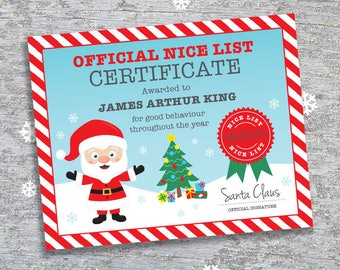 Personalized Santa's Nice List Certificate - DIY Printable Personalized – Christmas Eve Box Filler (Digital File)