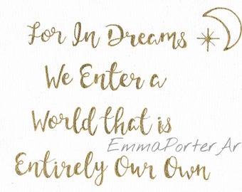 10x7.5in Albus Dumbledore Quote - Harry Potter - Calligraphy