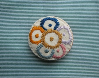 Abstract Flowers Embroidered Brooch / Pin Badge