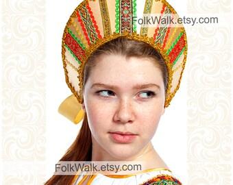 Russian hat Asya, women russian hat, russian tiara, russian crown, kokoshnik tiara, russian headwear, russian head-dress, russian kokoshnik