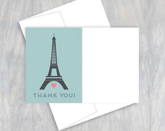Paris Birthday, Thank You Card, Thank You Note, Eiffel Tower, French Birthday, Paris Party, Paris Theme, Parisian Party, Birthday Party