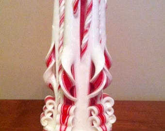 Holiday Candy Cane Carved Candle
