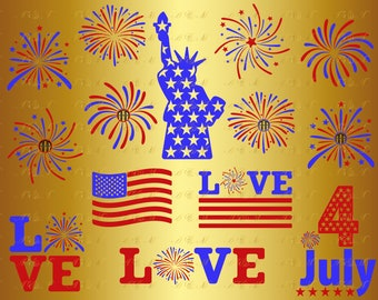60% OFF FireWorks SVG 4th of July Svg Love Patriotic American Flag Png Eps Dxf Vinyl Cut File Monogram Silhouette Decal Design Clipart Party